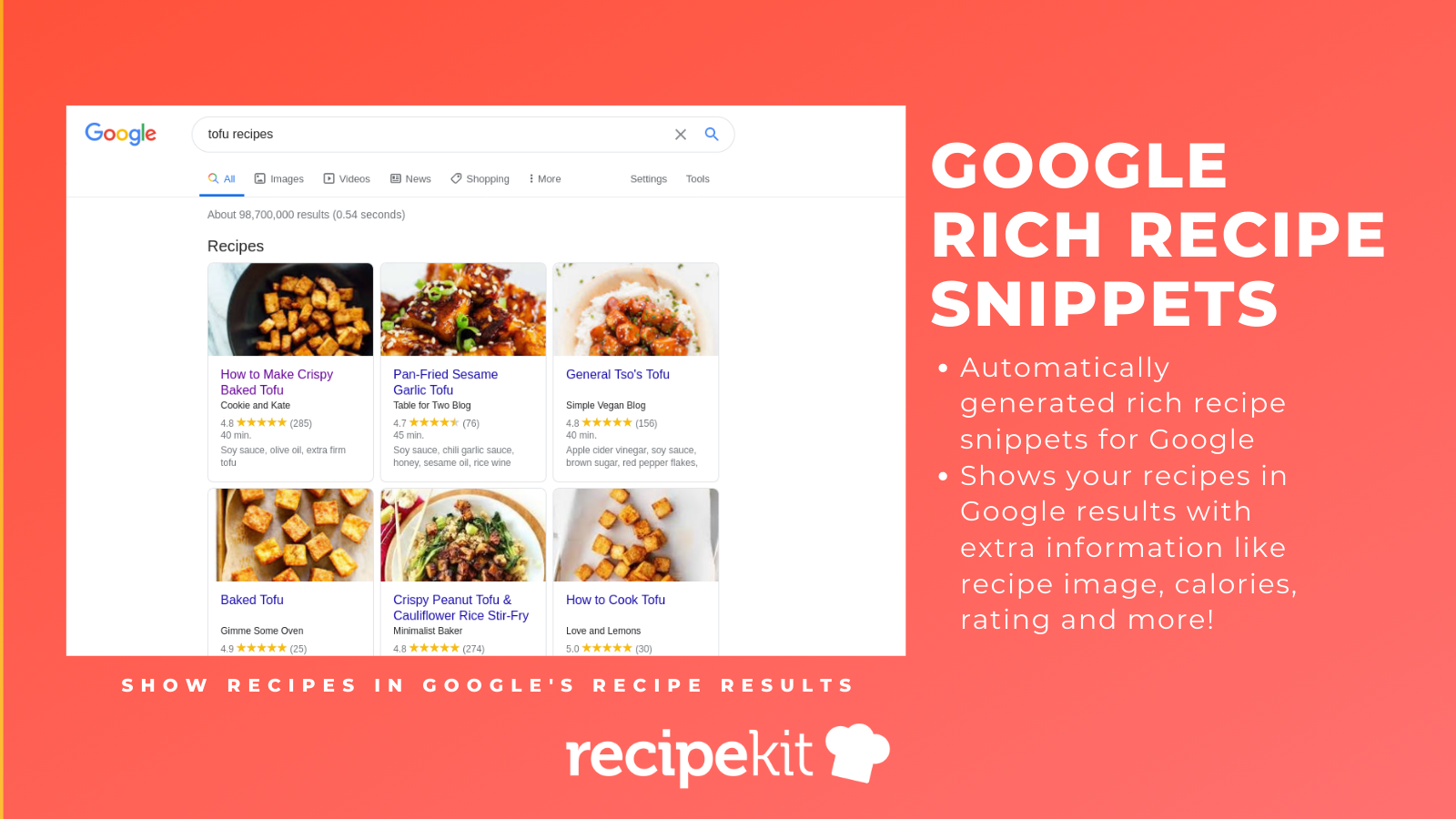 Show your recipes with Google's rich recipe snippet data
