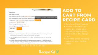Add to cart from within your recipe card with Recipe Kit!