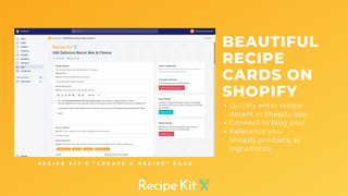 Simply add your recipe details, then connect it to a blog post!