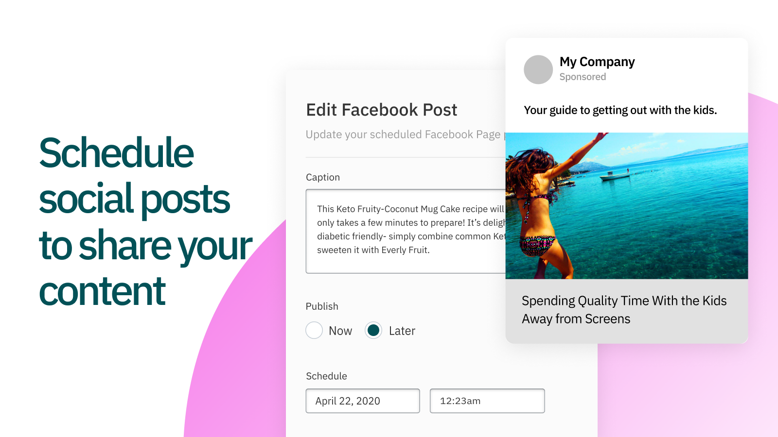 Instantly share your content to your Facebook Business Page