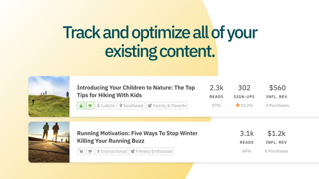 Centralize, track, and optimize all your existing content.