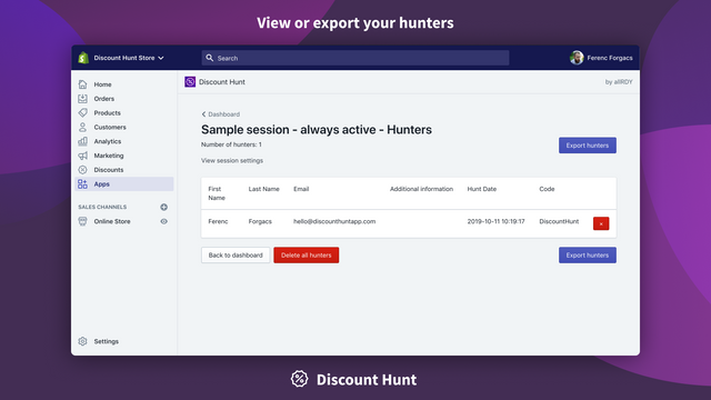 View or export your hunters