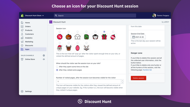 Choose an icon for your Discount Hunt session