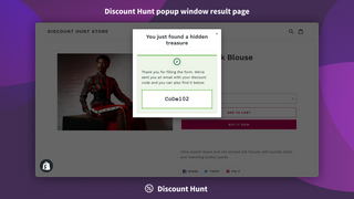 Discount Hunt popup window result page