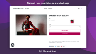 Discount Hunt icon visible on a product page