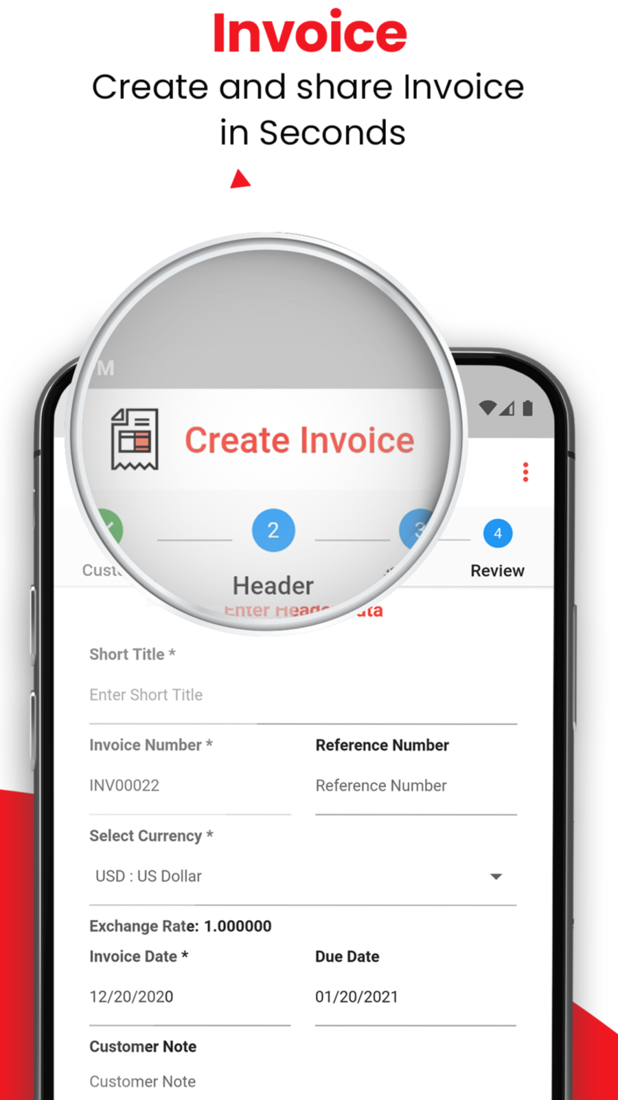 Create and share Invoices in seconds