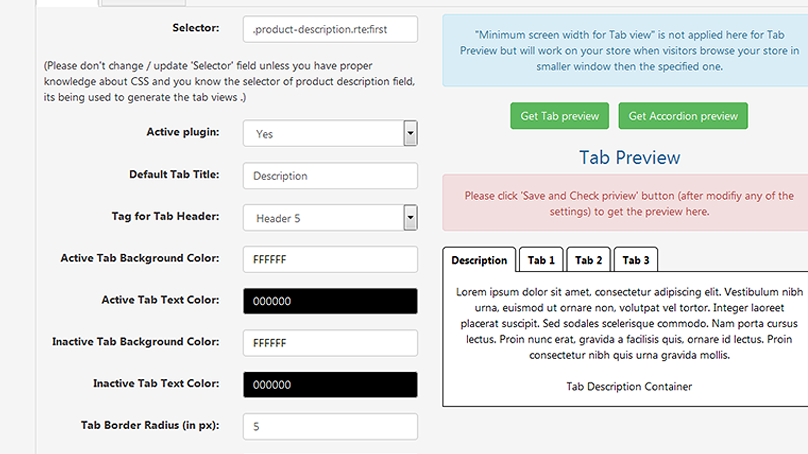Auto generated product description tabs settings in app backend
