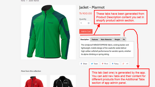 Product description tabs in product details page