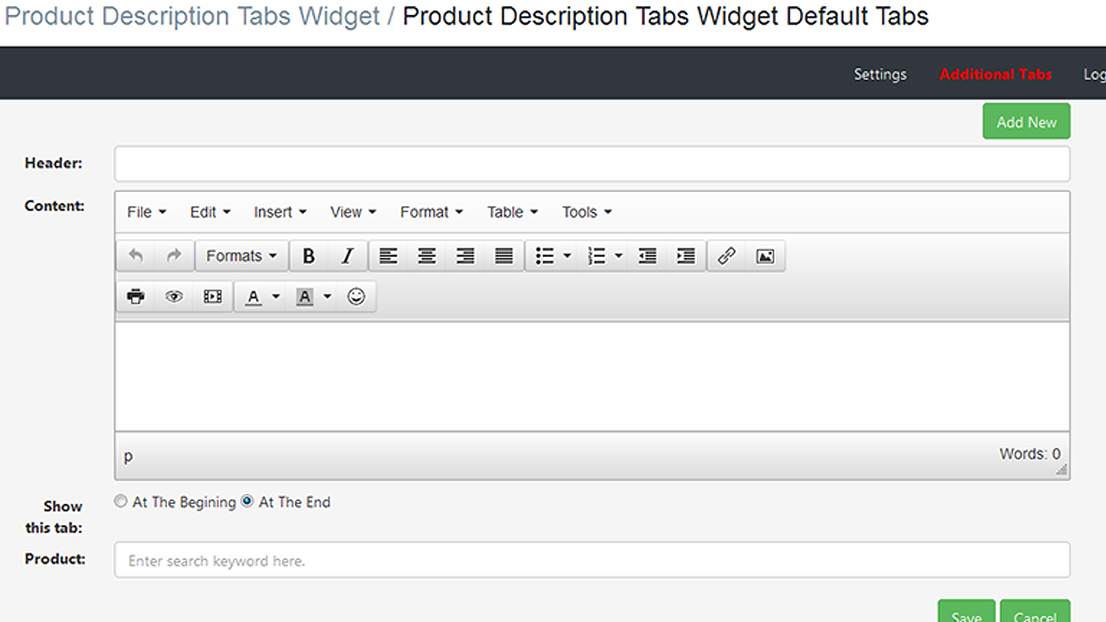 Additional tab entry page in the app backend