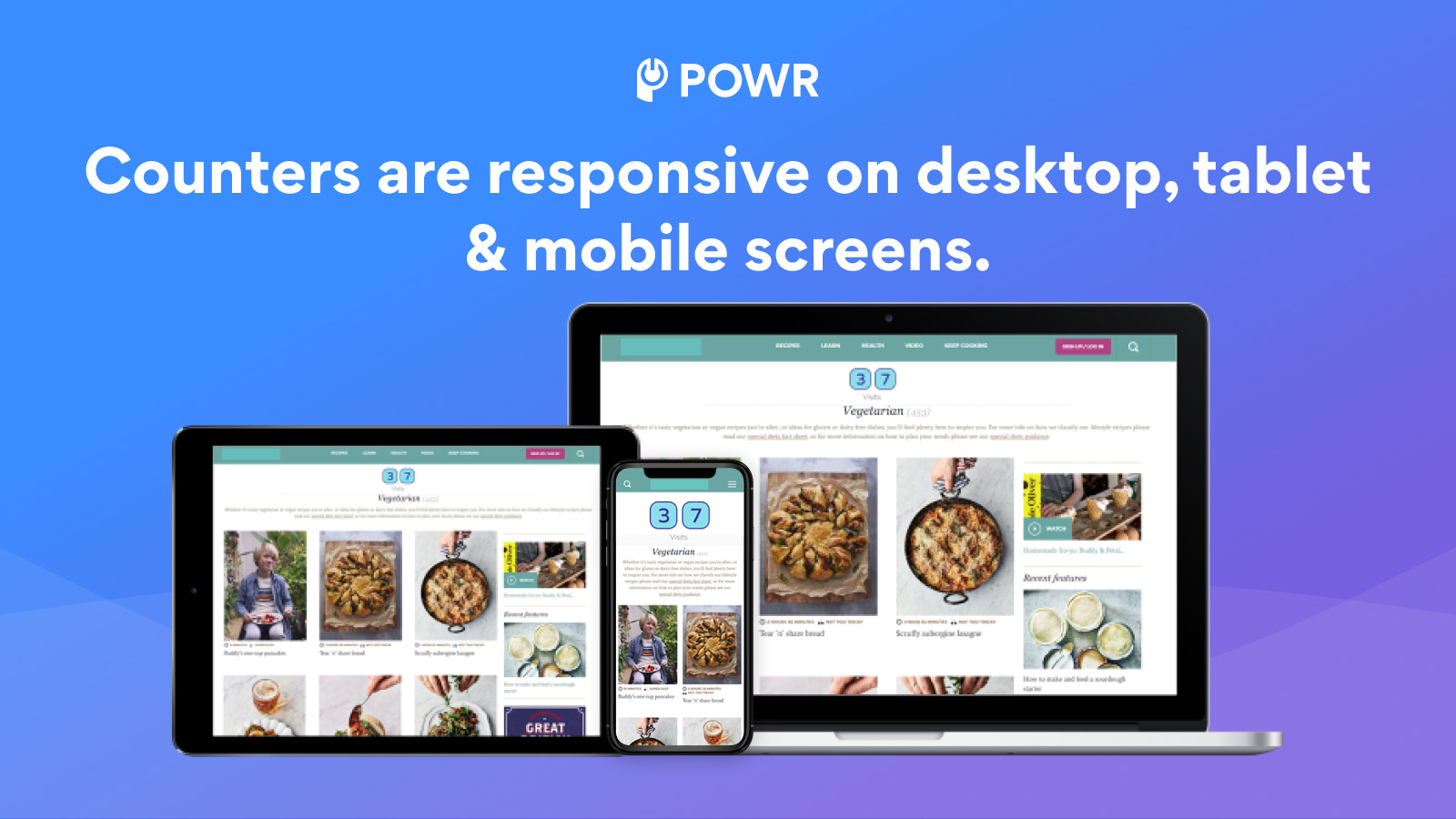Counters are responsive on all devices.