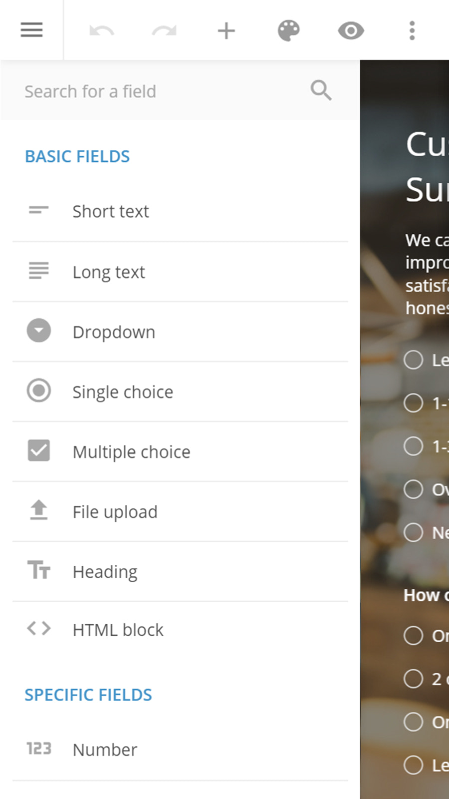 123FormBuilder mobile Editor - build your forms on mobile