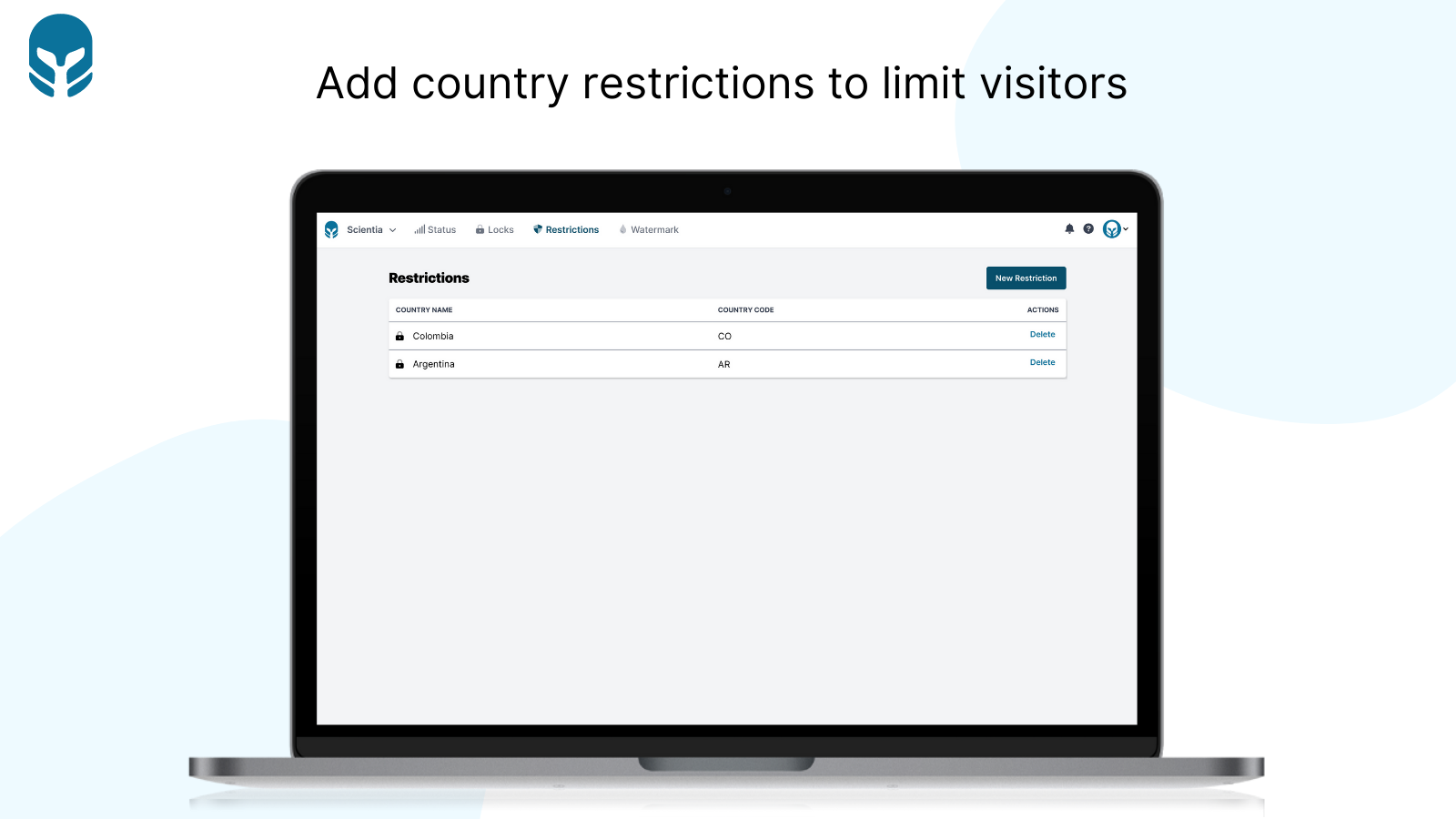 Add country restrictions to limit visitors - Cybarmor
