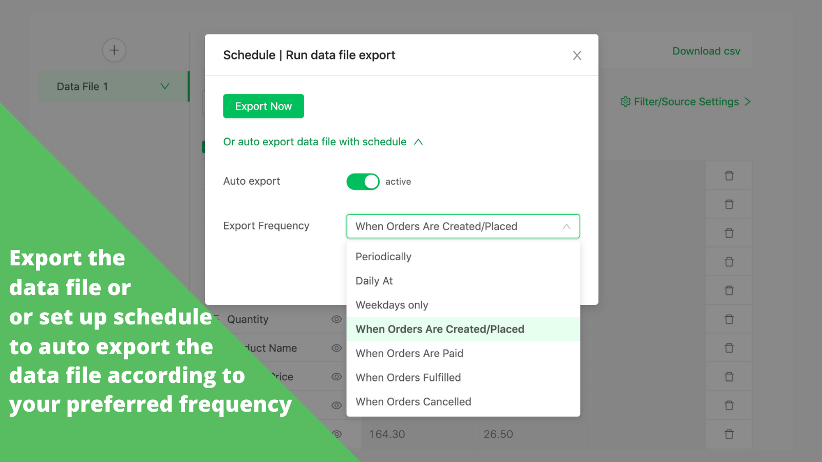 Automate your export by scheduling