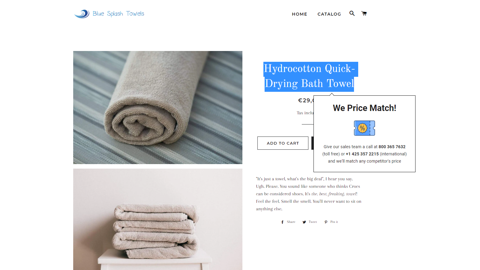 Smart Price Match Popup Preview on Demo Store