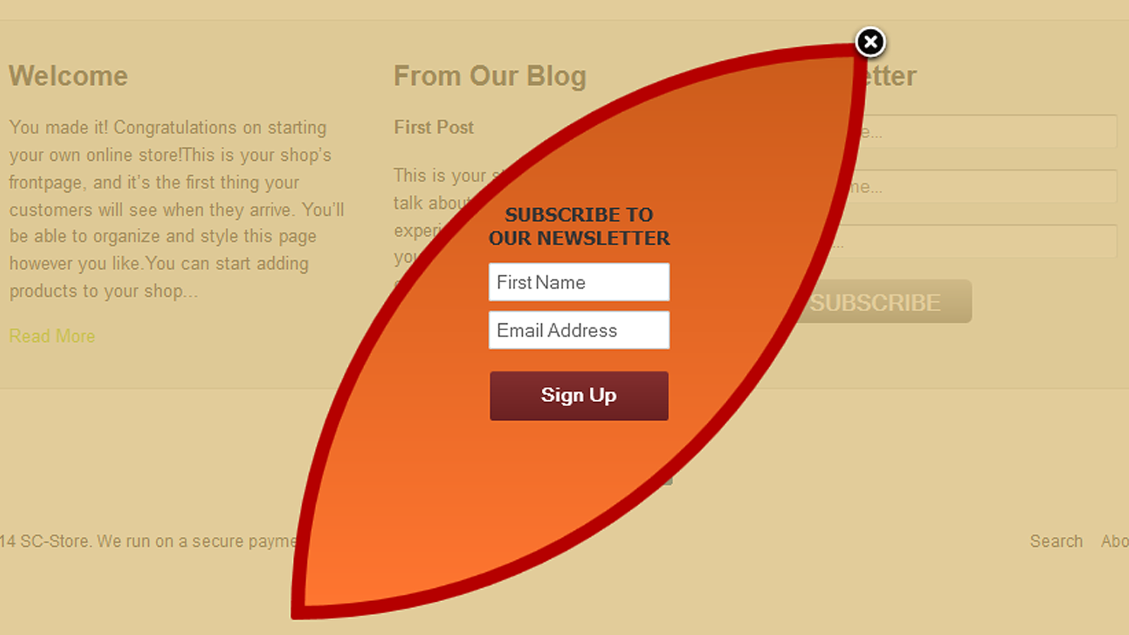 GetResponse popup with custom content and design