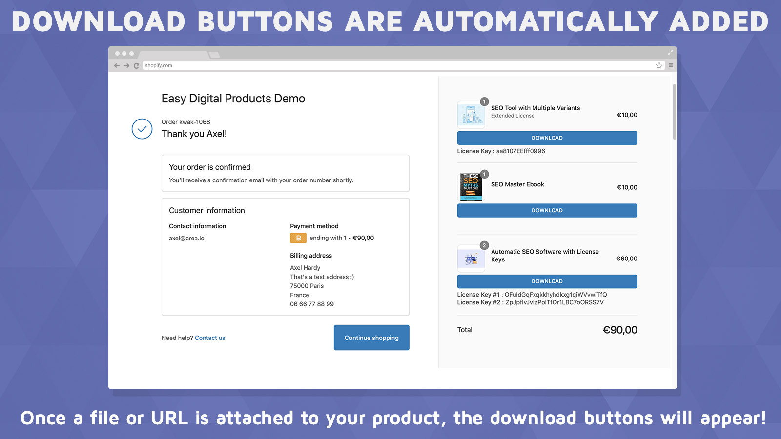 Downloads buttons inside the order's confirmation page