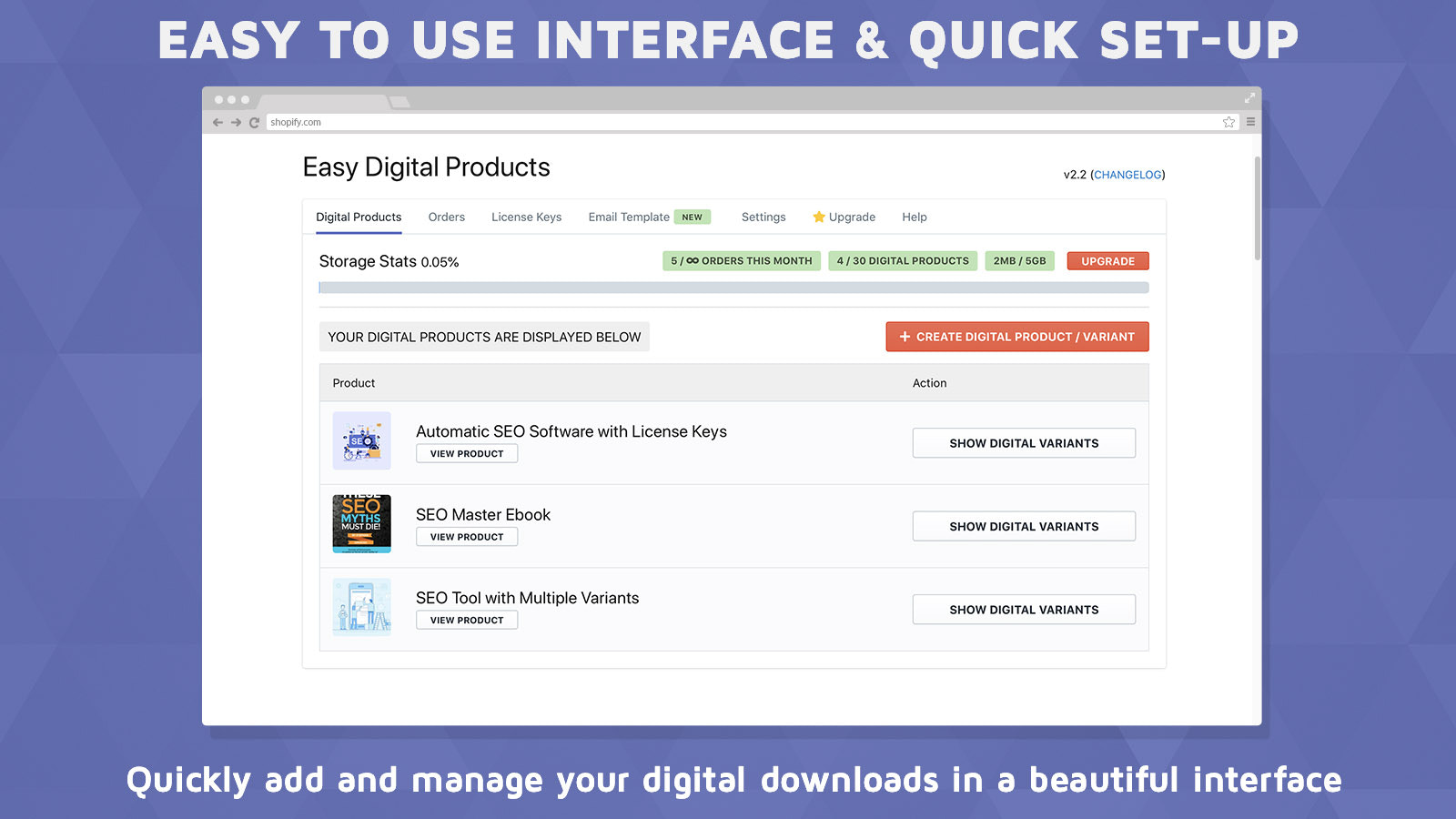 Easy to use interface to attach any file to any Shopify product