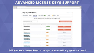Manage license keys easily from the app interface