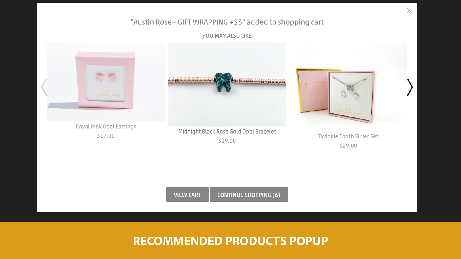 recommended product popup