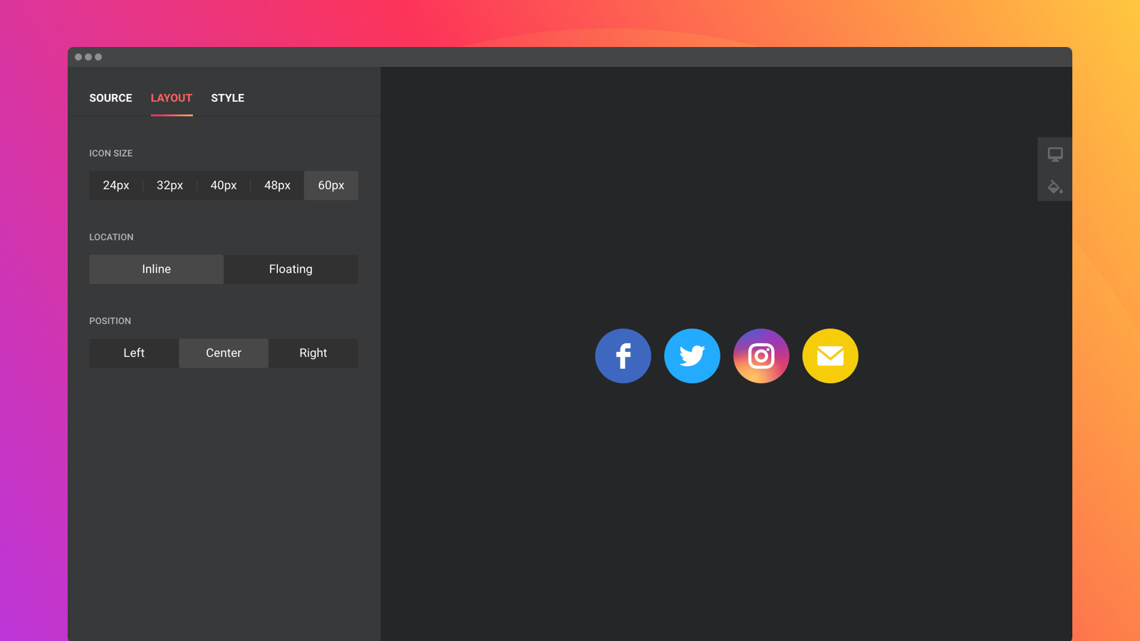 Customize the size of the icons in one click