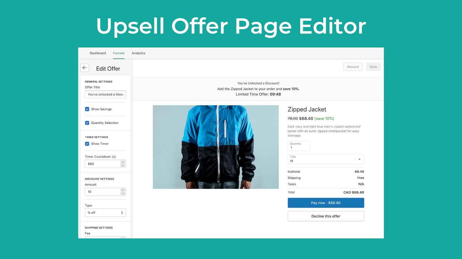 Upsell Offer Page Editor
