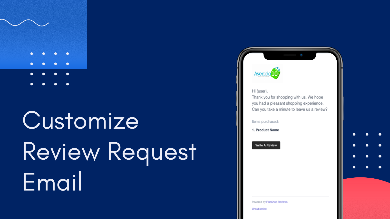 Customize review request email