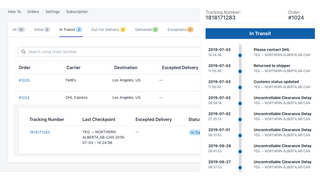 order tracking and monitoring