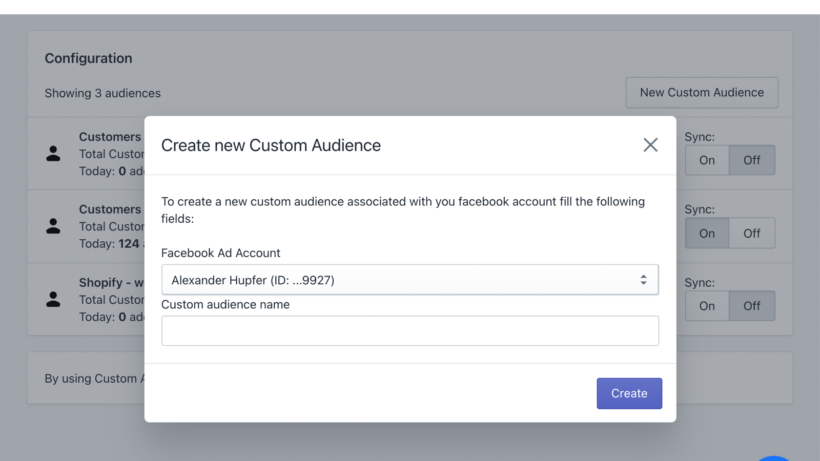 Easy Custom Audience Creation directly in App