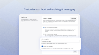 Customize cart label and enable gift messaging