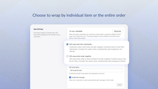 Choose to wrap by individual item or entire order