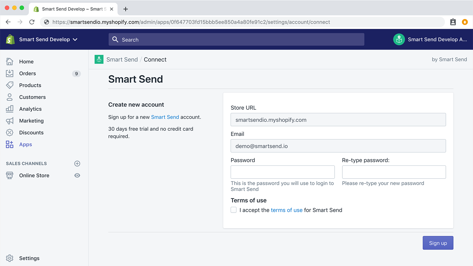 Signup for a free Smart Send trials directly from the app