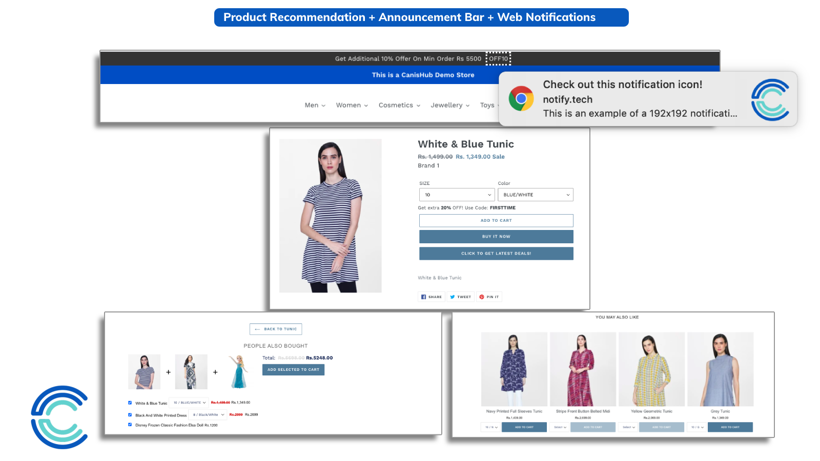 Product Recommendations + Announcements + Web Push Notifications