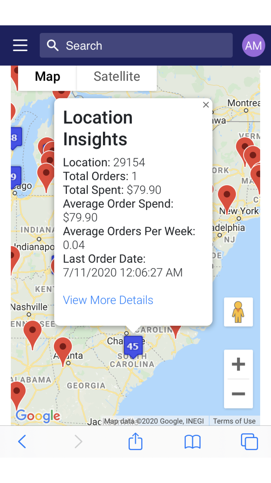 Postal code/Province details showing order activity and insights