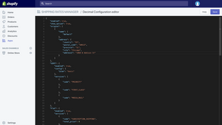 Top of configuration editor with example code