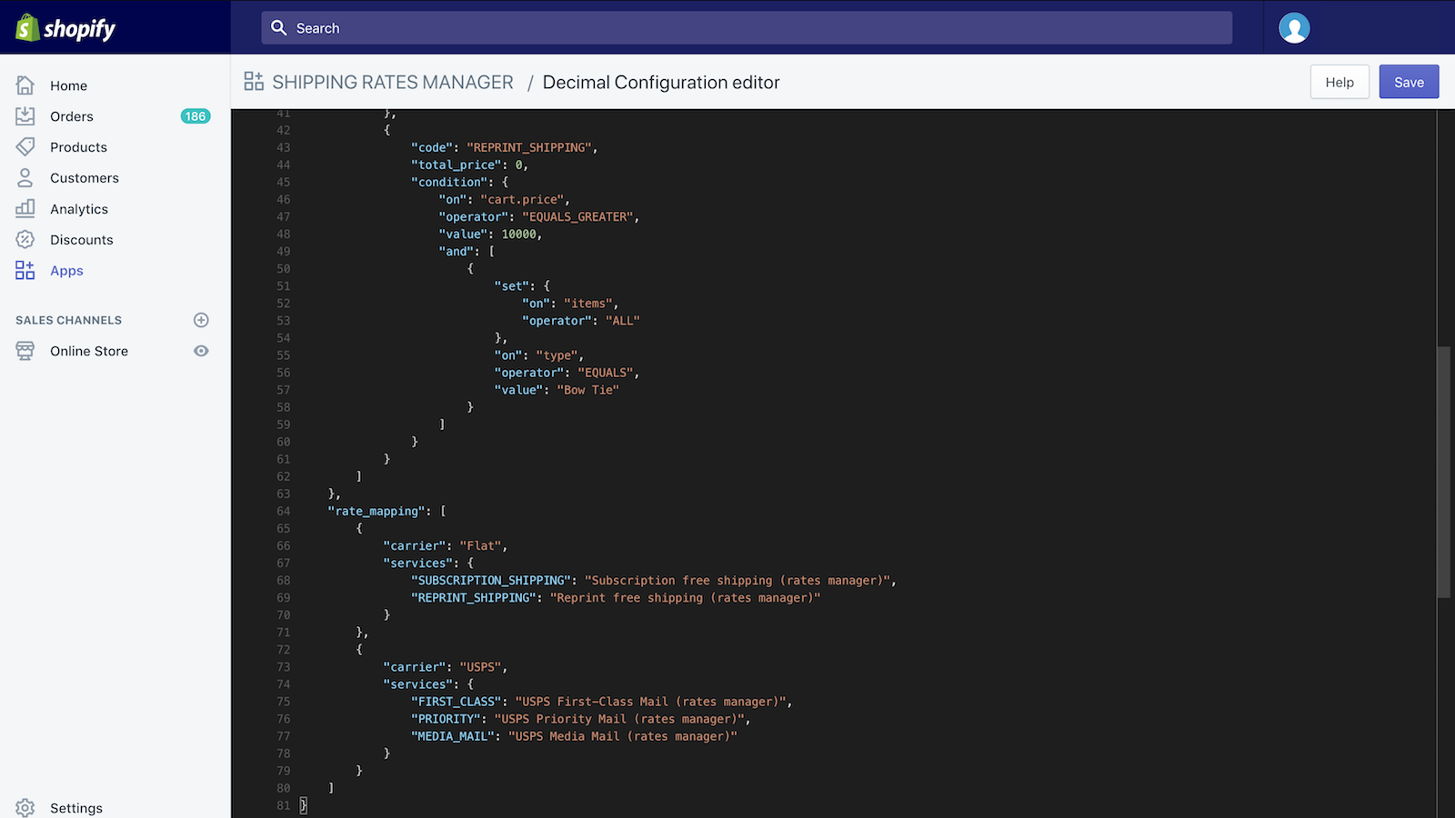 Bottom of configuration editor with example code