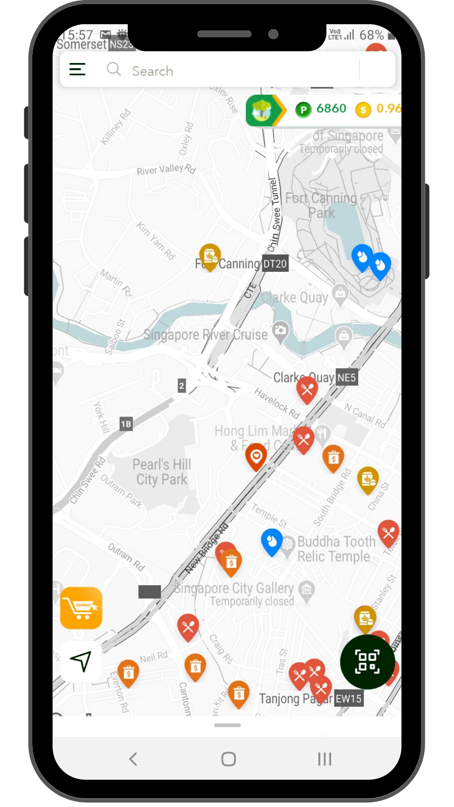 App interface showing green lifestyle options and merchants