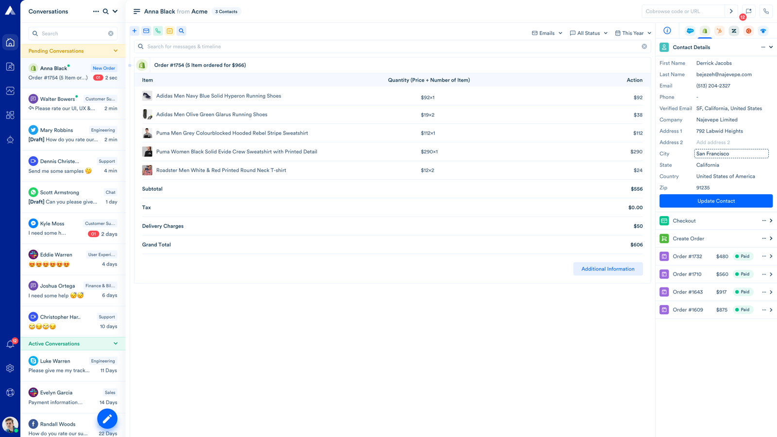 Create or Update Customers from Acquire dashboard