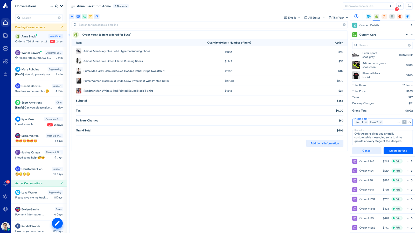 Order Details and Create Order from Acquire unified Dashboard