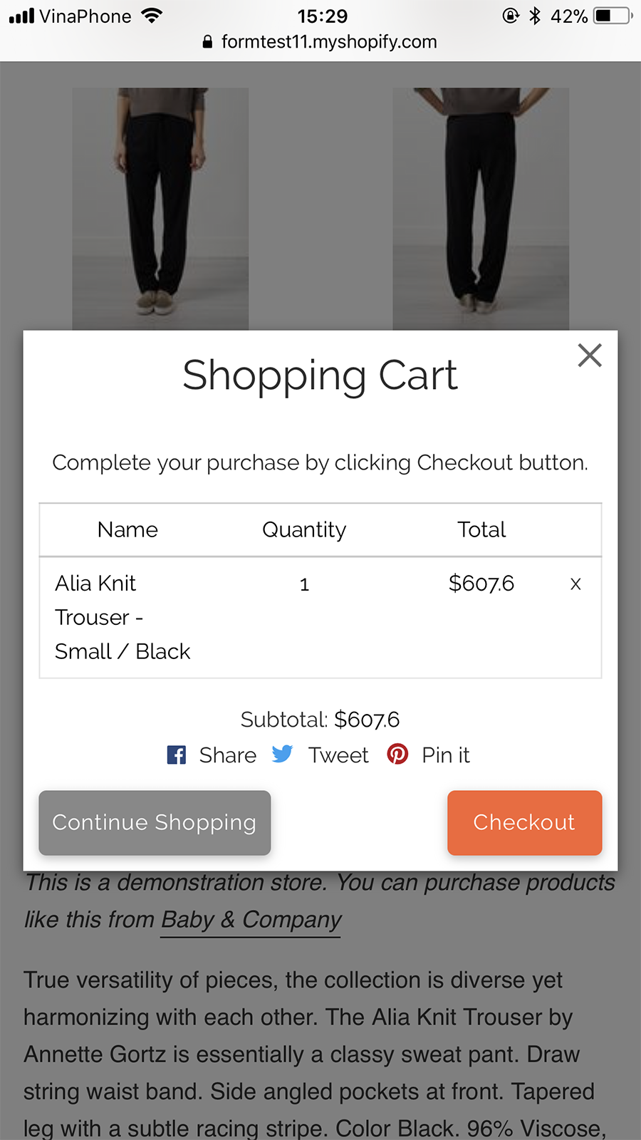 """Popup """"Add to cart"""" on mobile"""