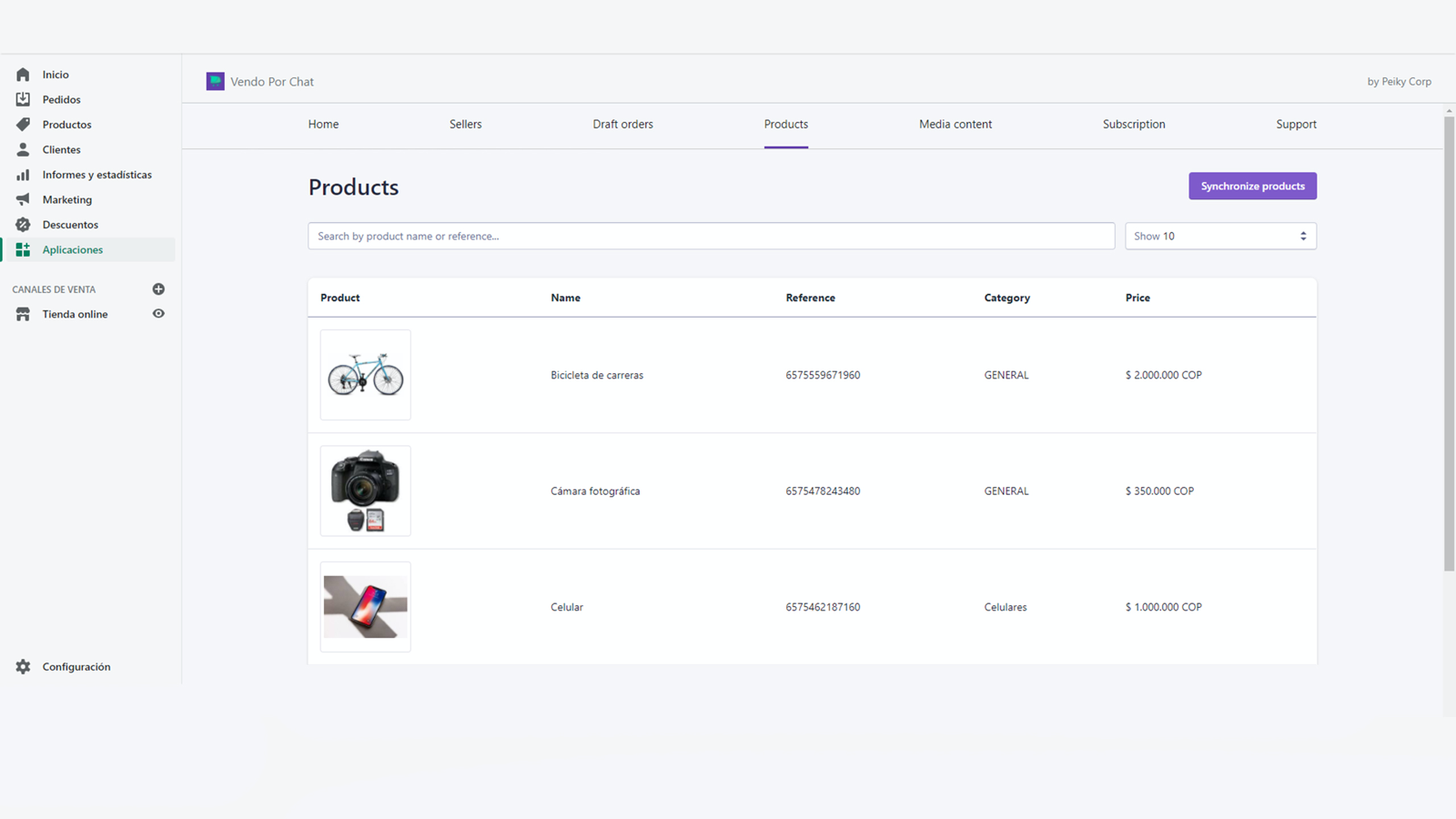 Integrate your products to vendo por chat app