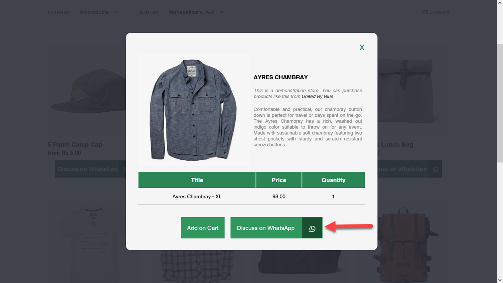 Display Product Options in a Popup on Collection Page