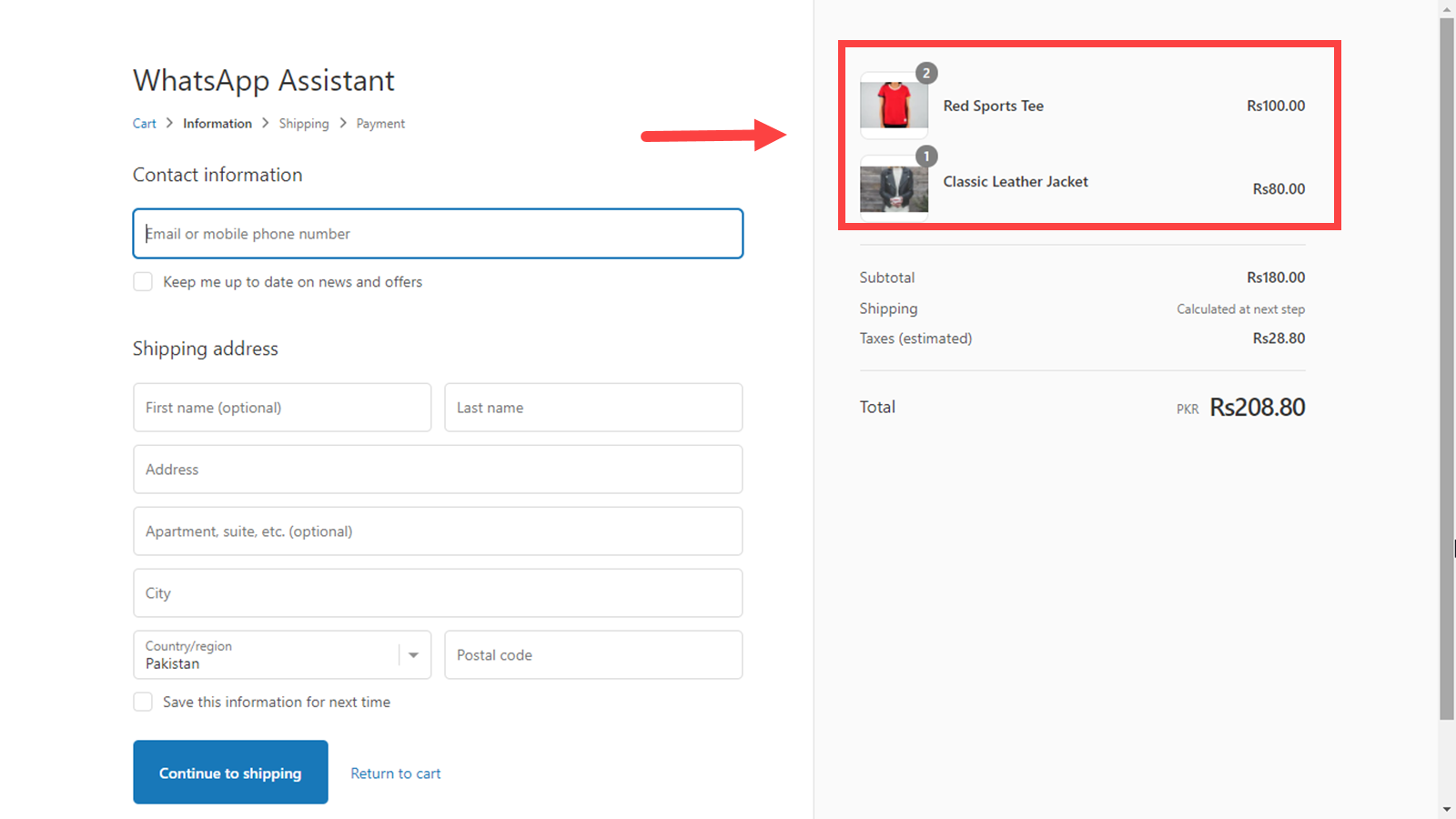Invoice Link Take customers back to Checkout page