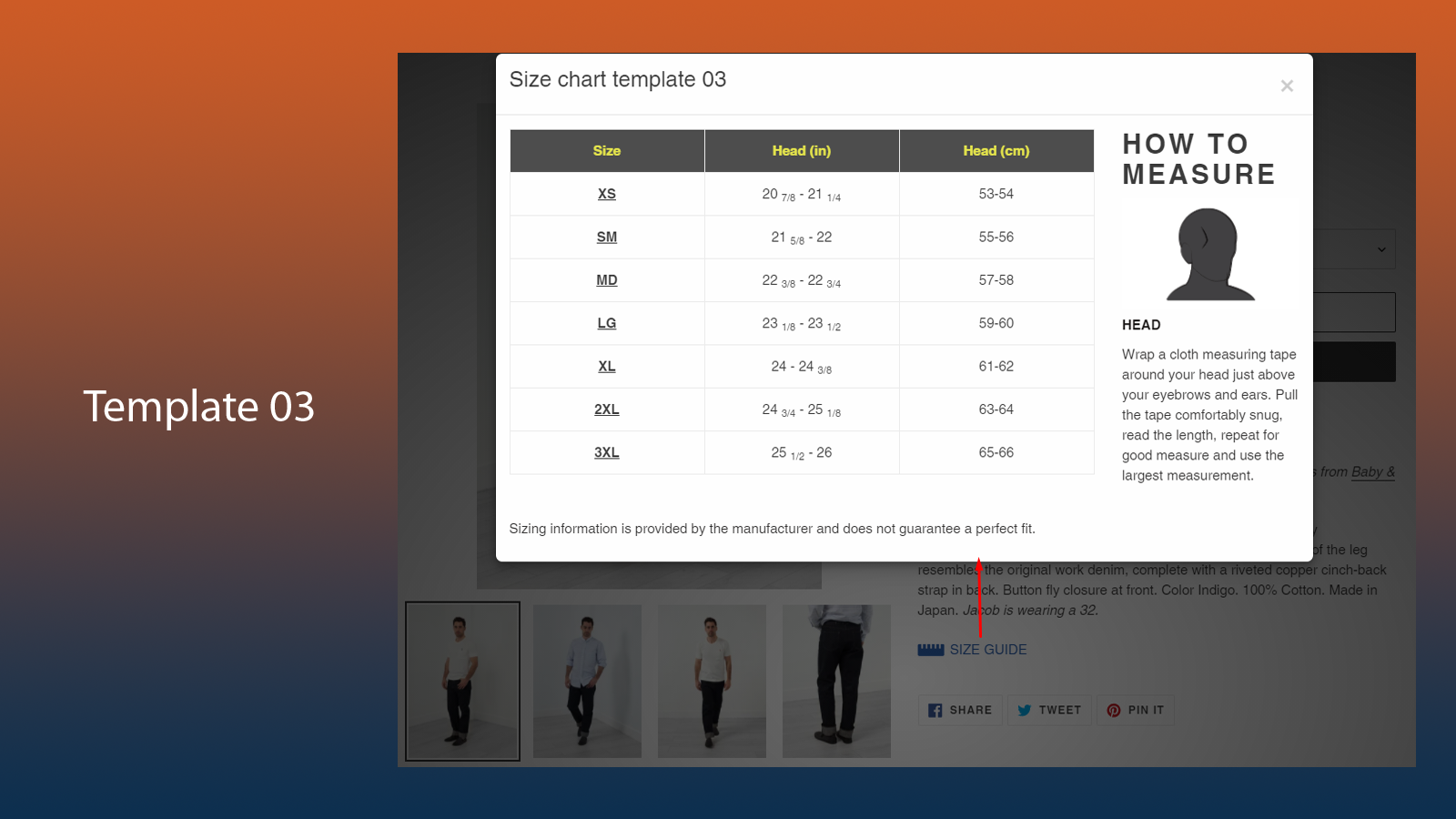 Easy Size Chart & Size Guide 06