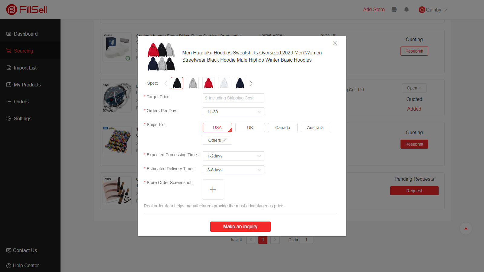 Submitting your sourcing request