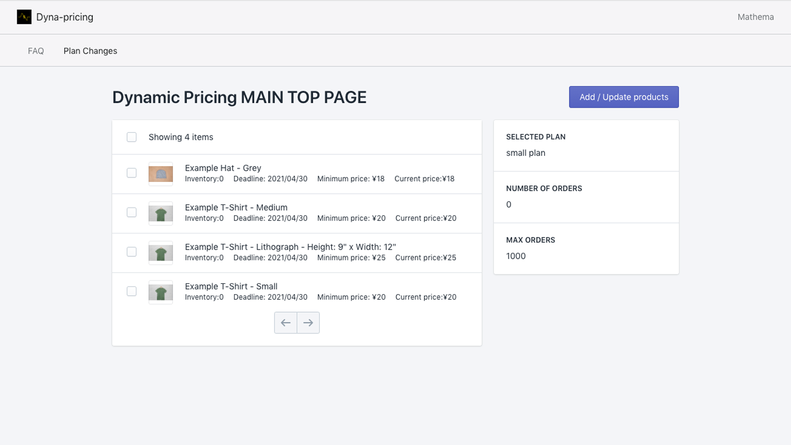 You can track the orders you get and the products you set.