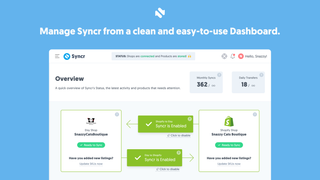 Syncr's Dashboard Page. Control Syncr with a single cli