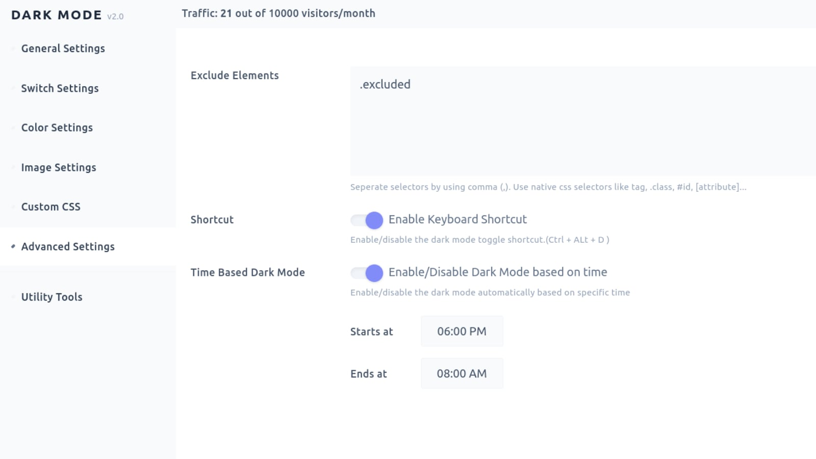 Exclude elements, time based Dark Mode and Keyboard Shortcut