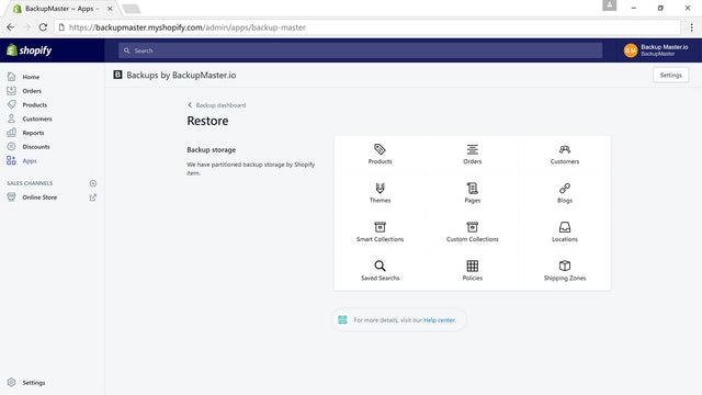 Restore Products, Themes, Assets, Collections