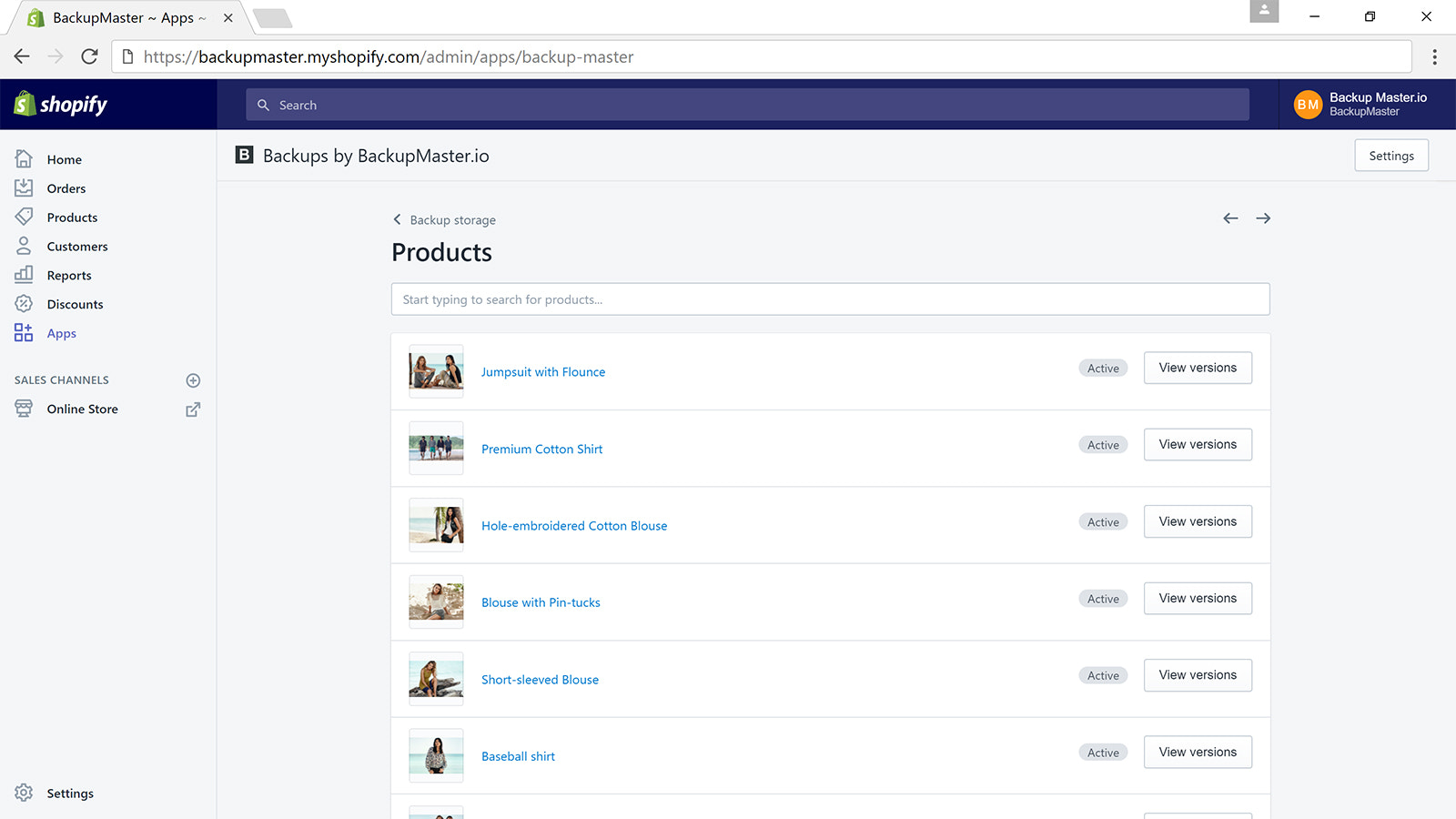 Restore Shopify Product Versions