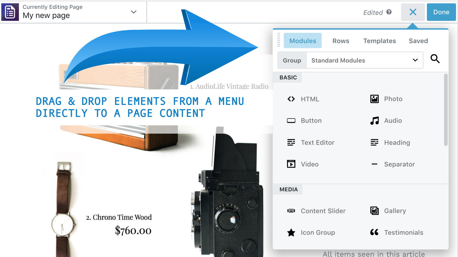 Page builder - drag and drop elements
